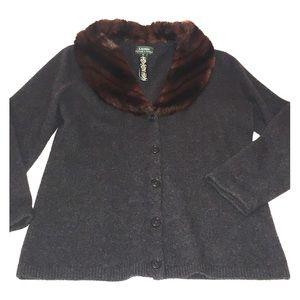 Ralph Lauren Sweaters - LAUREN by RL gray wool/cashmere faux fur cardigan